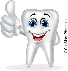 Tooth with thumb up - Vector illustration of tooth with...
