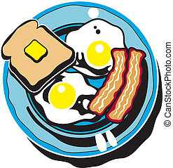 Breakfast Clip Art of Bacon, Eggs And Toast