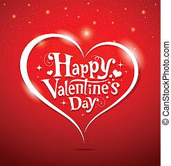 Happy Valentines Day lettering Greeting Card on red...