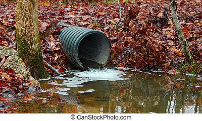 desperdicio, agua, Drenaje, tubo