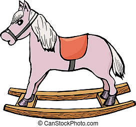 rocking horse - hand drawn, cartoon, vector illustration of...