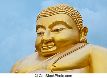 Smiling Buddha - Gloden good luck smiling Buddha, Chinese...