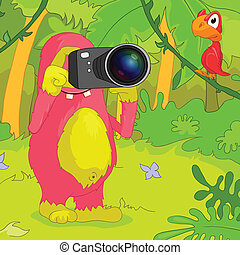 Funny Monster. - Cartoon Character Funny Monster. Vector...