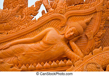 Sleeping Buddha, Carved candle - Carved candle sleeping...
