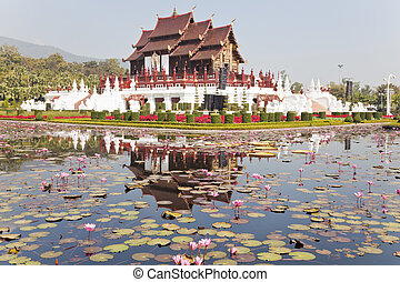 ho kham luang in chiang mai, thailand, the traditional lanna...