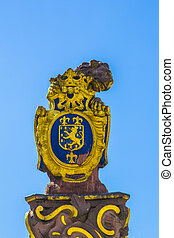 Golden lion at the parliament in Wiesbaden - Golden lion at...