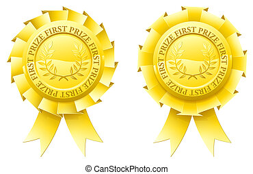 Gold first prize rosettes