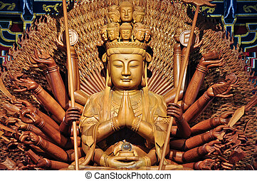 Golden wood statue of Guan Yin with 1000 hands - Golden Wood...
