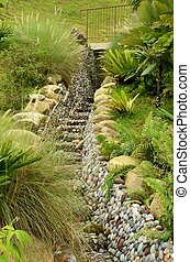 'Green' water drain: Singapore park - A stepped rain water...
