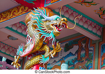 Chinese dragon - Colorful Chinese dragon wrapped around the...