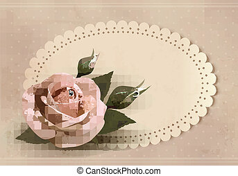 Retro greeting card with pink rose Vector illustration