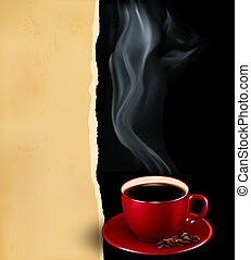 Background with cup of coffee and old paper. Vector