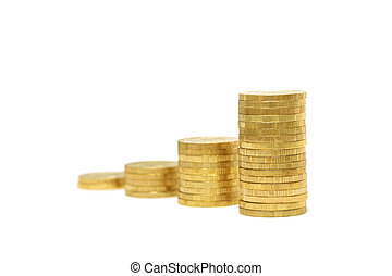 Stacks of gold coins (isolated)