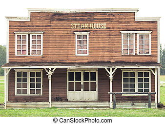 Steak house in Wild West style - Steak house with green...