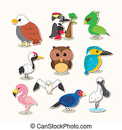 cute vector bird set - cute colorful vector bird set