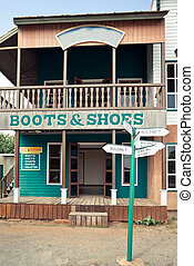 Boots house in Wild West style - Boots and shoes house in...