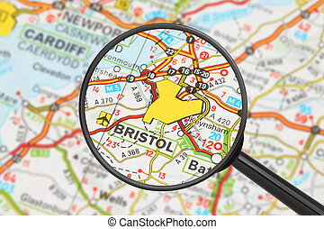 Destination - Bristol with magnifying glass - Tourist...