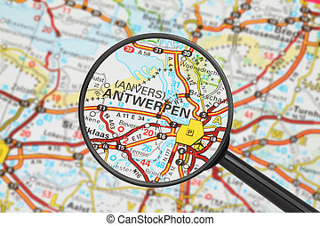 Destination - Antwerpen with magnifying glass - Tourist...