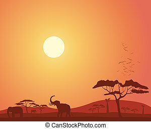 africa landscape - an illustration of a colorful african...
