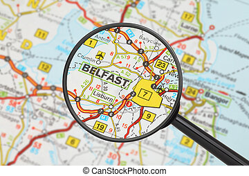Destination - Belfast with magnifying glass - Tourist...