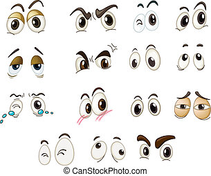 mixed expressions - Funny eyes on a white background
