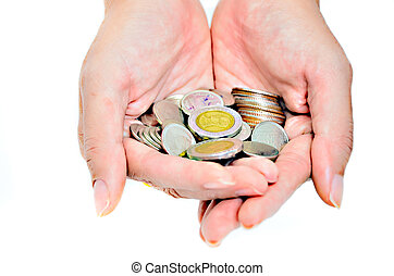 counting coins in hand