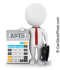 3d white people business calculator - 3d white people...