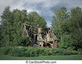 Ruins of abandoned rural house - Ruins of an old abandoned...
