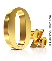 Gold zero percent discount symbol - 3D golden Render percent...