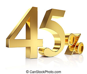 Gold forty-five percent - 3D golden Render percent in white...