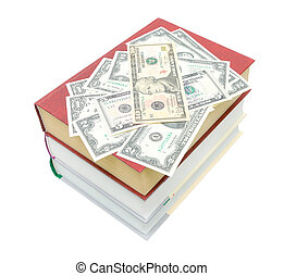 books and money isolated on white background - pile of books...