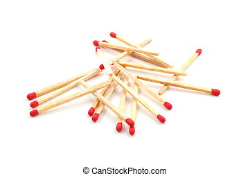 Matches - Some red matches isolated on a white background.
