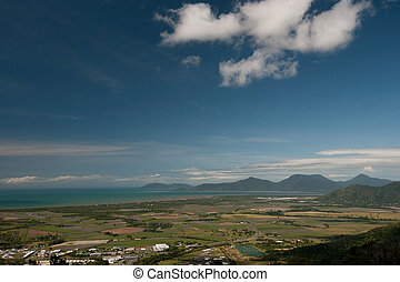 Cairns airport (background) and Trinity Inlet, North...