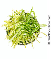 salad with fresh savoy cabbage on a white background, top...