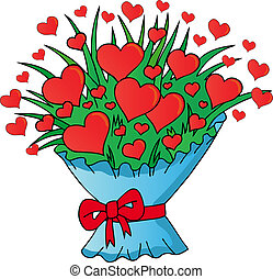 Valentines hearts bouquet - vector illustration