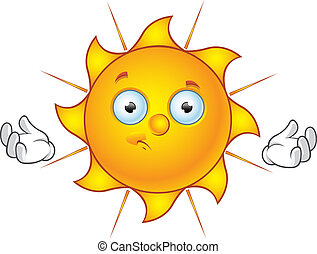 Sun Character - Confused - Cartoon illustration of a Sun...