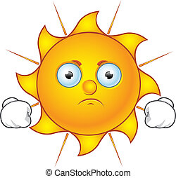 Sun Character - Grumpy - Cartoon illustration of a Sun...