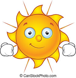 Sun Character - Happy - Cartoon illustration of a Sun...