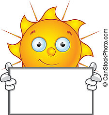 Sun Character - Happy Holding Blank - Cartoon illustration...