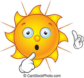Sun Character - Having A Thought - Cartoon illustration of a...