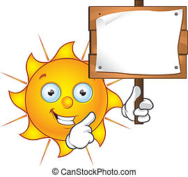 Sun Character - Holding Sign - Cartoon illustration of a Sun...