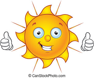 Sun Character - Thumbs Up - Cartoon illustration of a Sun...