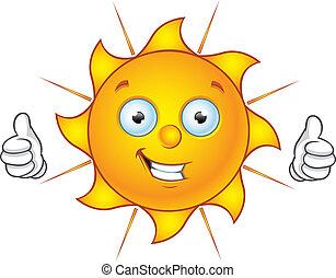 Sun Character - Thumbs Up - Cartoon illustration of a Sun...