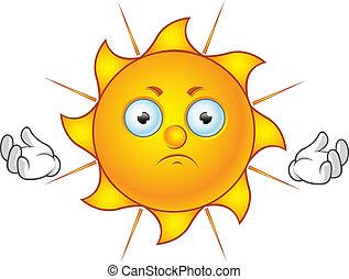 Sun Character - Unhappy - Cartoon illustration of a Sun...