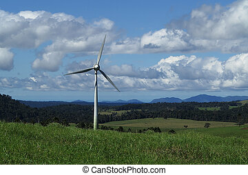 wind turbine in tropical North Queensland, Atherton...