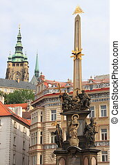 Baroque column of Holy Trinity in Prague
