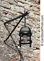 Old street lamp - Old medieval street lamp in Assisi, Italy