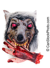 Halloween, fun and creepy, werewolf with bloody hand on...