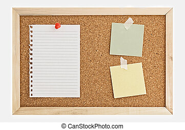Cork Pin Board with notes. - Cork Pin Board with a sheet of...