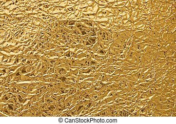 Gold metallic crumpled paper texture - Gold metallic...
